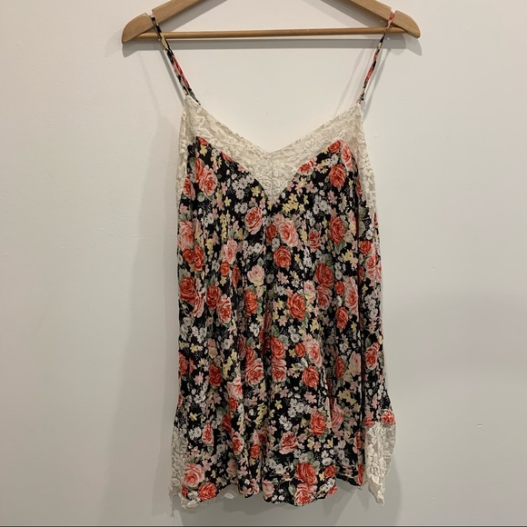 Forever 21 Floral and Lace Flowy Camisole Tank Top